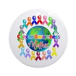 Cancer Awareness World Ornament (Round)