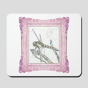 Pink Framed Dragonfly Mousepad
