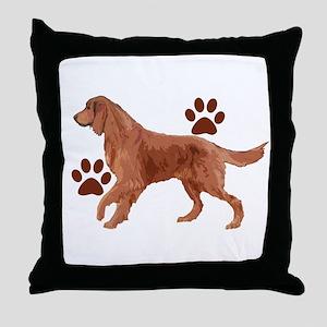 Irish setter Paws Throw Pillow