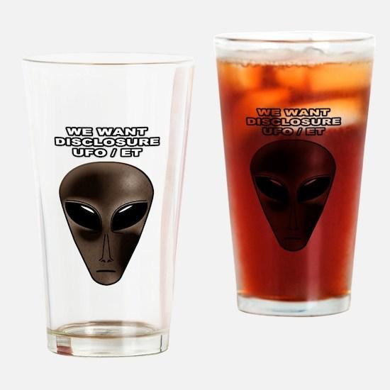 Disclosure UFO ALIEN Extraterrestrial Drinking Gla