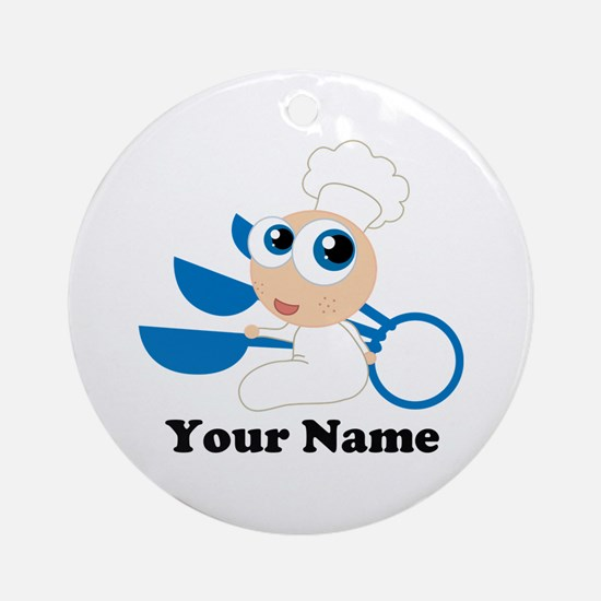 Personalized Baby Chef Ornament (Round)