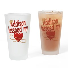 Addison Lassoed My Heart Drinking Glass