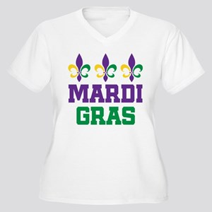 Mardi Gras Gift Women's Plus Size V-Neck T-Shirt