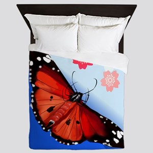 Hot Big Bright Butterfly And Cherry Queen Duvet