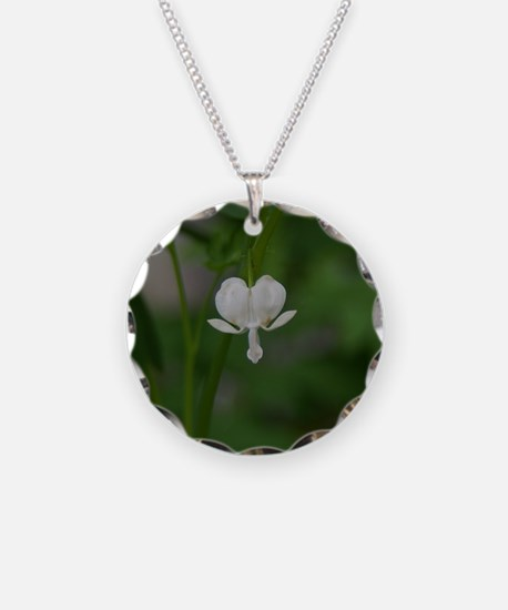 Single White Bleeding Heart Necklace