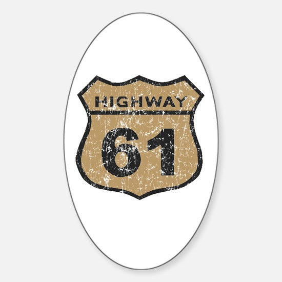 Retro Look Hwy 61 Road Sign Oval Decal