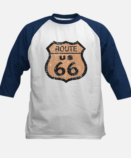 Retro Route 66 Road Sign Kids Baseball Jersey