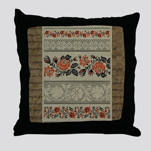 Traditional Ukrainian Embroid Throw Pillow