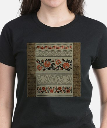 Traditional Ukrainian Embroid Women's Dark T-Shirt