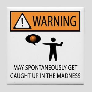 Warning Basketball Madness Tile Coaster