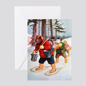 Roosevelt Bears Go Maple Sugaring Greeting Card