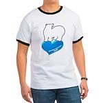 blue heart Ringer T