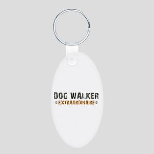 Dog Walker Extraordinaire Aluminum Oval Keychain
