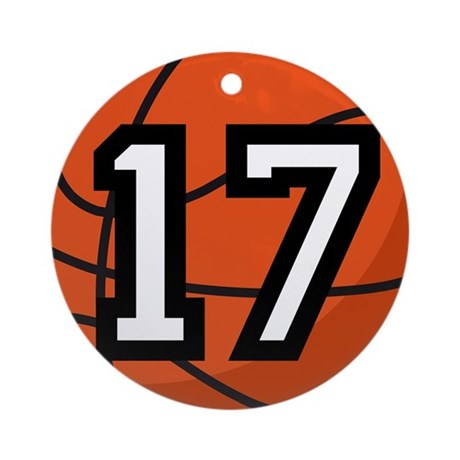 Basketball Player Number 17 Ornament (Round)