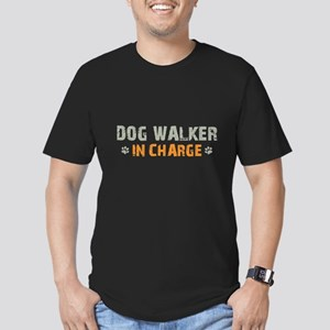 Dog Walker In Charge Men's Fitted T-Shirt (dark)