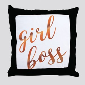 Girl Boss Inspirational Rose Gold quo Throw Pillow