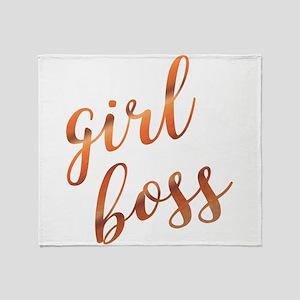 Girl Boss Inspirational Rose Gold qu Throw Blanket