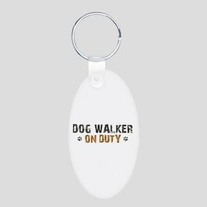 Dog Walker On Duty Aluminum Oval Keychain
