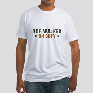 Dog Walker On Duty Fitted T-Shirt