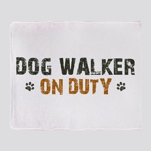 Dog Walker On Duty Throw Blanket