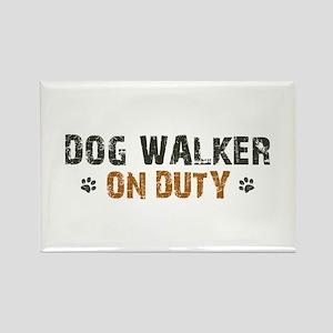 Dog Walker On Duty Rectangle Magnet