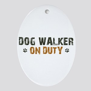 Dog Walker On Duty Ornament (Oval)