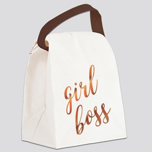 Girl Boss Inspirational Rose Gold Canvas Lunch Bag
