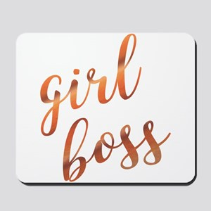 Girl Boss Inspirational Rose Gold quote Mousepad