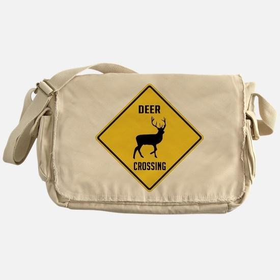 Deer Crossing Sign Messenger Bag