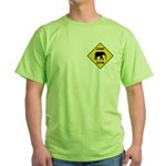 Elephant Crossing Sign Green T-Shirt