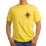 Elephant Crossing Sign Yellow T-Shirt