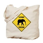 Elephant Crossing Sign Tote Bag