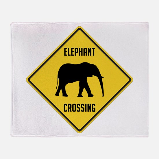 Elephant Crossing Sign Throw Blanket