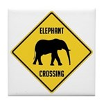 Elephant Crossing Sign Tile Coaster