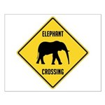 Elephant Crossing Sign Small Poster