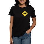 Bison Crossing Sign Women's Dark T-Shirt