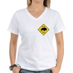 Bison Crossing Sign Women's V-Neck T-Shirt