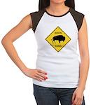 Bison Crossing Sign Women's Cap Sleeve T-Shirt
