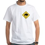 Bison Crossing Sign White T-Shirt