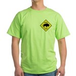 Bison Crossing Sign Green T-Shirt