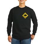Bison Crossing Sign Long Sleeve Dark T-Shirt