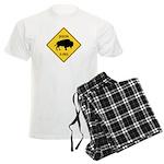 Bison Crossing Sign Men's Light Pajamas