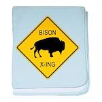Bison Crossing Sign baby blanket