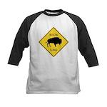 Bison Crossing Sign Kids Baseball Jersey