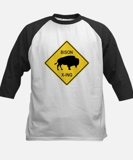 Bison Crossing Sign Kids Baseball Jersey