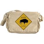Bison Crossing Sign Messenger Bag