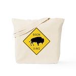 Bison Crossing Sign Tote Bag