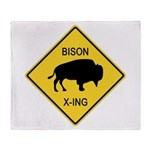 Bison Crossing Sign Throw Blanket