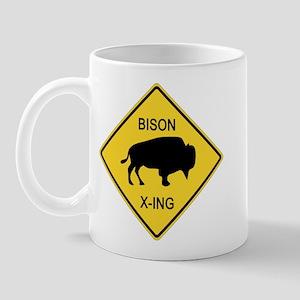 Bison Crossing Sign Mug