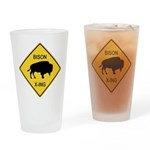Bison Crossing Sign Drinking Glass